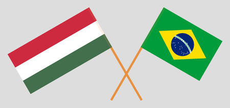 Brazil and Hungary. The Brazilian and Hungarian flags. Official proportion. Correct colors. Vector illustration