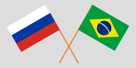 Brazil and Russia. The Brazilian and Russian flags. Official proportion. Correct colors. Vector illustration