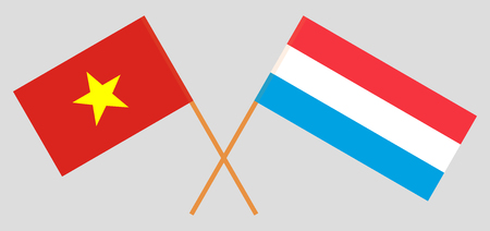 Luxembourg and Vietnam. The Luxembourgish and Vietnamese flags. Official proportion. Correct colors. Vector illustration