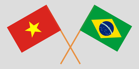 Brazil and Vietnam. The Brazilian and Vietnamese flags. Official proportion. Correct colors. Vector illustration  イラスト・ベクター素材