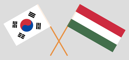 Hungary and South Korea. The Hungarian and Korean flags. Official proportion. Correct colors. Vector illustration