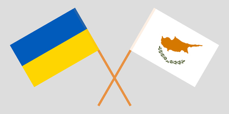 Cyprus and Ukraine. The Cyprian and Ukrainian flags. Official proportion. Correct colors. Vector Çizim