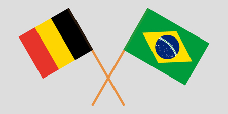 Brazil and Belgium. The Brazilian and Belgian flags. Official proportion. Correct colors. Vector illustration