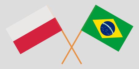 Brazil and Poland. The Brazilian and Polish flags. Official proportion. Correct colors. Vector illustration Vektoros illusztráció