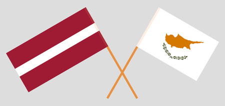 Latvia and Cyprus. The Latvian and Cyprian flags. Official colors. Correct proportion. Vector illustration