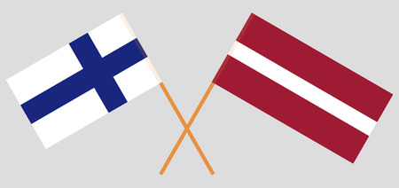 Latvia and Finland. The Latvian and Finnish flags. Official colors. Correct proportion. Vector illustration