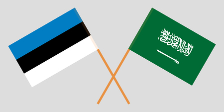 Estonia and Kingdom of Saudi Arabia. The Estonian and KSA flags. Official colors. Correct proportion. Vector illustration