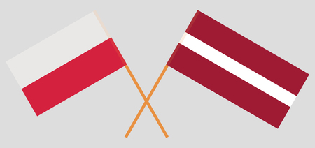 Poland and Latvia. The Polish and Latvian flags. Official colors. Correct proportion. Vector illustration