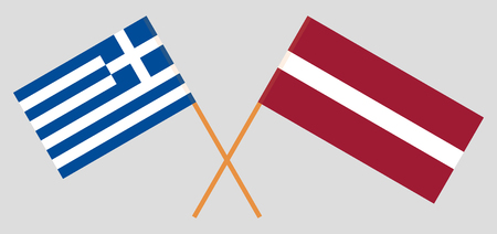 Greece and Latvia. The Greek and Latvian flags. Official colors. Correct proportion. Vector illustration 일러스트
