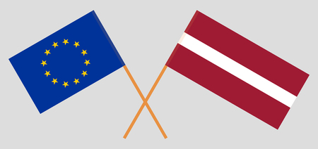 Latvia and EU. The Latvian and European flags. Official colors. Correct proportion. Vector illustration 일러스트