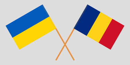 Romania and Ukraine. The Romanian and Ukrainian flags. Official proportion. Correct colors. Vector illustration