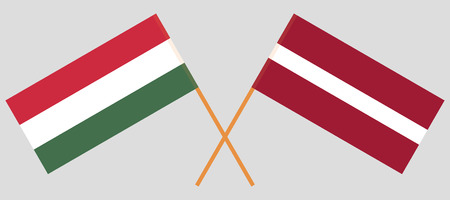 Latvia and Hungary. The Latvian and Hungarian flags. Official colors. Correct proportion. Vector illustration