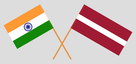 Latvia and India. The Latvian and Indian flags. Official colors. Correct proportion. Vector illustration