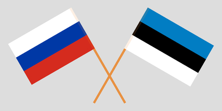 Estonia and Russia. The Estonian and Russian flags. Official proportion. Correct colors. Vector illustration Illustration