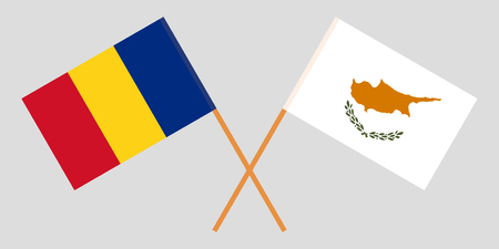 Romania and Cyprus. The Romanian and Cyprian flags. Official proportion. Correct colors. Vector illustration