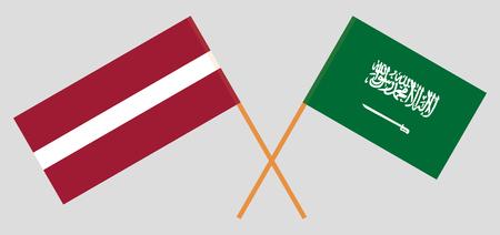 Kingdom of Saudi Arabia and Latvia. The KSA and Latvian flags. Official colors. Correct proportion. Vector illustration