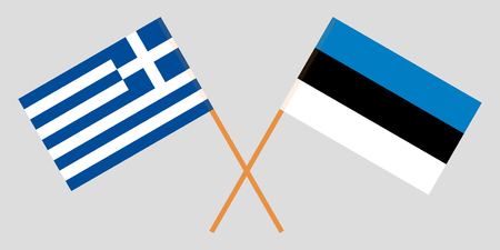 Estonia and Greece. The Estonian and Greek flags. Official proportion. Correct colors. Vector illustration Ilustrace