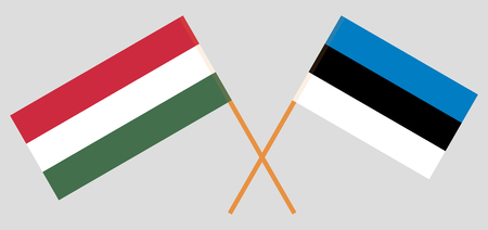 Hungary and Estonia. The Hungarian and Estonian flags. Official colors. Correct proportion. Vector illustration