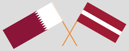 Qatar and Latvia. The Qatari and Latvian flags. Official colors. Correct proportion. Vector illustration 일러스트