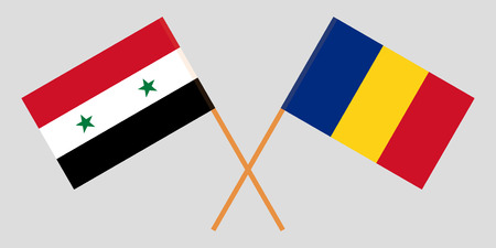 Romania and Syria. The Romanian and Syrian flags. Official proportion. Correct colors. Vector illustration Foto de archivo - 124907040