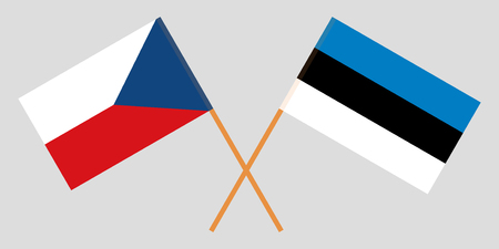 Estonia and Czech Republic. The Estonian and Czech flags. Official colors. Correct proportion. Vector illustration