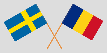 Romania and Sweden. The Romanian and Swedish flags. Official proportion. Correct colors. Vector illustration