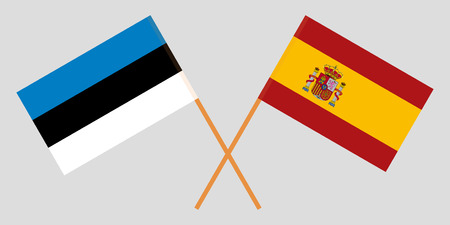 Spain and Estonia. The Spanish and Estonian flags. Official colors. Correct proportion. Vector illustration
