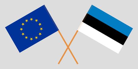EU and Estonia. The European and Estonian flags. Official colors. Correct proportion. Vector illustration 일러스트