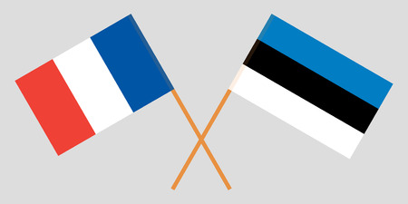 Estonia and France. The Estonian and French flags. Official proportion. Correct colors. Vector illustration Ilustrace
