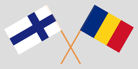 Romania and Finland. The Romanian and Finnish flags. Official proportion. Correct colors. Vector illustration
