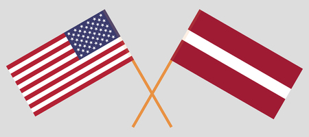 Latvia and USA. The Latvian and United States of America flags. Official colors. Correct proportion. Vector illustration 일러스트
