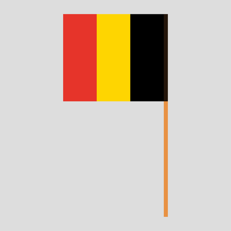 Flagpole with Belgium flag. Official proportion. Correct colors. Vector illustration