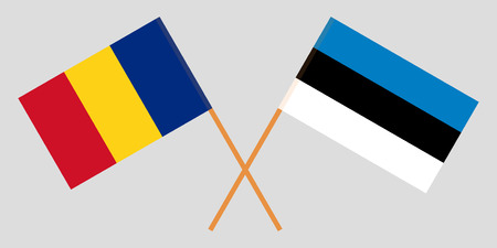 Estonia and Romania. The Estonian and Romanian flags. Official colors. Correct proportion. Vector illustration