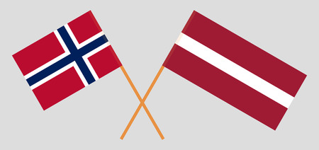 Latvia and Norway. The Latvian and Norwegian flags. Official colors. Correct proportion. Vector illustration