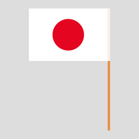 Flagpole with Japan flag. Official proportion. Correct colors. Vector illustration