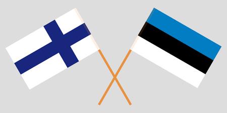 Estland und Finnland. Die estnische und die finnische Flagge. Offizieller Anteil. Korrekte Farben. Vektor-Illustration