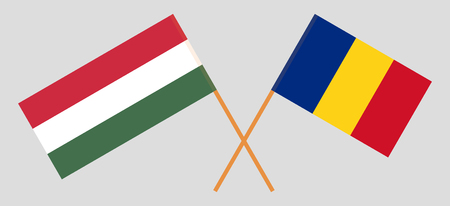 Romania and Hungary. The Romanian and Hungarian flags. Official proportion. Correct colors. Vector illustration