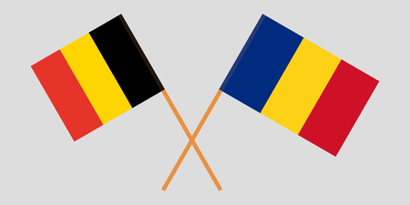 Romania and Belgium. The Romanian and Belgian flags. Official proportion. Correct colors. Vector illustration Illustration