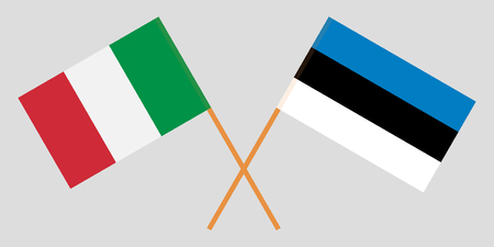 Estonia and Italy. The Estonian and Italian flags. Official proportion. Correct colors. Vector illustration