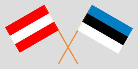 Estonia and Austria. The Estonian and Austrian flags. Official colors. Correct proportion. Vector illustration