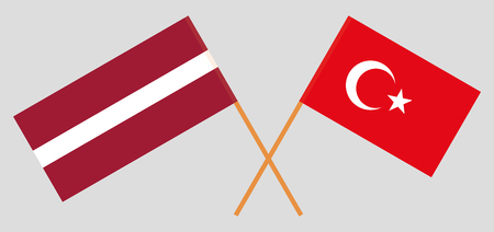 Latvia and Turkey. The Latvian and Turkish flags. Official colors. Correct proportion. Vector illustration