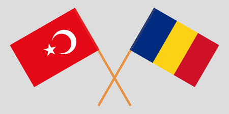 Romania and Turkey. The Romanian and Turkish flags. Official proportion. Correct colors. Vector illustration