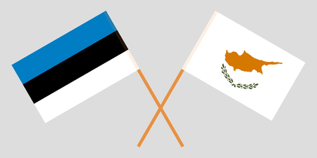 Cyprus and Estonia. The Cyprian and Estonian flags. Official colors. Correct proportion. Vector illustration 일러스트