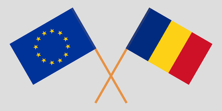 Romania and Europe. The Romanian and EU flags. Official proportion. Correct colors. Vector illustration