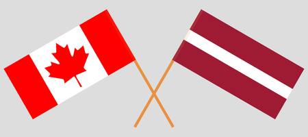 Latvia and Canada. The Latvian and Canadian flags. Official colors. Correct proportion. Vector illustration