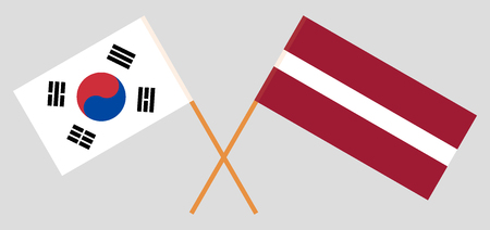 Latvia and South Korea. The Latvian and Korean flags. Official colors. Correct proportion. Vector illustration