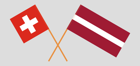 Switzerland and Latvia. The Swiss and Latvian flags. Official colors. Correct proportion. Vector illustration