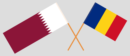 Romania and Qatar. The Romanian and Qatari flags. Official proportion. Correct colors. Vector illustration Ilustracja
