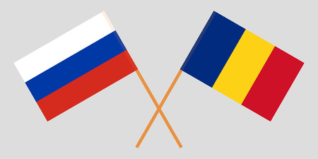 Romania and Russia. The Romanian and Russian flags. Official proportion. Correct colors. Vector illustration