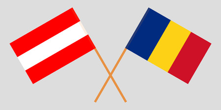 Romania and Austria. The Romanian and Austrian flags. Official proportion. Correct colors. Vector illustration